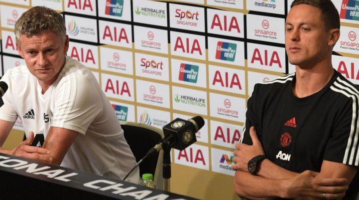 Ole Gunnar Solskjaer dan Nemanja Matic saat konferensi pers International Champions Cup 2019